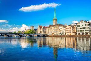 Historic Zürich city center with famous Fraumünster Church, Limmat river and Zürich lake, Zürich, Switzerland
