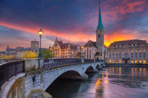 Zurich. Cityscape image of Zurich, Switzerland during dramatic sunset.
